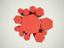 Red hexagonal background Stock Photos