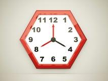 Red hexagonal clock Stock Image