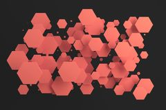 Red hexagons of random size on black background. Abstract background with hexagons. Cloud of hexagons in front of wall. 3D rendering illustration Stock Images