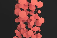 Red hexagons of random size on black background. Abstract background with hexagons. Cloud of hexagons in front of wall. 3D rendering illustration Royalty Free Stock Photography