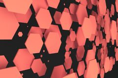 Red hexagons of random size on black background. Abstract background with hexagons. Cloud of hexagons in front of wall. 3D rendering illustration Stock Photos