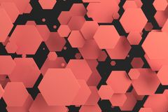 Red hexagons of random size on black background. Abstract background with hexagons. Cloud of hexagons in front of wall. 3D rendering illustration Stock Image