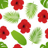 Red hibiscus and palm leaves seamless pattern. Royalty Free Stock Photo