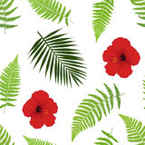Red hibiscus and palm leaves seamless pattern. Vector illustration Stock Photo
