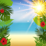 Red hibiscus and palm leaves seamless pattern. Vector illustration Stock Photos