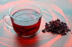 Red Hibiscus tea. Anti-aging effect Royalty Free Stock Images