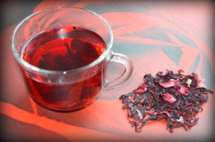 Red Hibiscus tea. Anti-aging effect Stock Photography