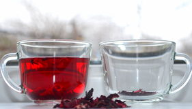 Red Hibiscus tea. Anti-aging effect Stock Images