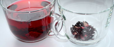 Red Hibiscus tea. Anti-aging effect Royalty Free Stock Photo