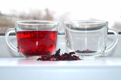Red Hibiscus tea. Anti-aging effect Royalty Free Stock Photography