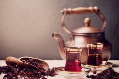 Red Hibiscus tea in turkish style. With copy space Royalty Free Stock Photos