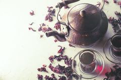 Red Hibiscus tea in turkish style. Top view Royalty Free Stock Photo