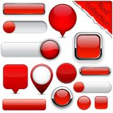 Red high-detailed modern buttons. Stock Photo