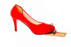 Red high heel in a mousetrap Royalty Free Stock Photography