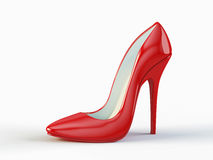Red high heel shoe. On white background Stock Images