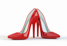 Red high heel shoes. On white background Stock Image