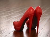 Red high heel shoes. 3d render Stock Photos