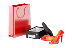 Red high heel shoes, shoebox and shopping bag. Shopping concept,. 3D rendering Stock Images