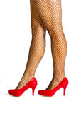 Red high heel shoes with stockings Stock Image