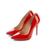 Red high heel women classic shoes Royalty Free Stock Images