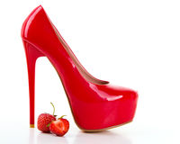 Red high heel women shoes with strawberry Stock Photos