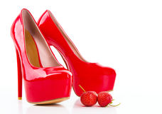 Red high heel women shoes with strawberry Stock Images