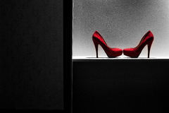 Red high heeled shoes. Royalty Free Stock Image