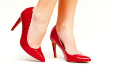Red high heels stock photos