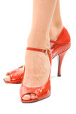 Red high heels. Isolated against a white background Royalty Free Stock Photography