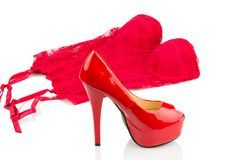 Red high heels and lingerie Stock Photos