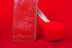 Red high heels and purse Stock Photos