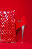 Red high heels and purse Royalty Free Stock Photo