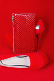 Red high heels and purse Royalty Free Stock Image