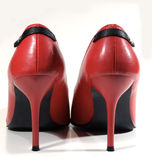 Red high heels, rear view. Close up of a pair of high heel women's shoes Royalty Free Stock Image