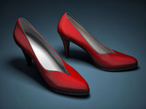Red high heels shoe on blue background Stock Image