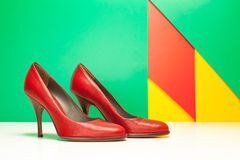 Red high heels shoes Stock Photos