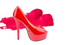 Red high heels and underwear Royalty Free Stock Photos