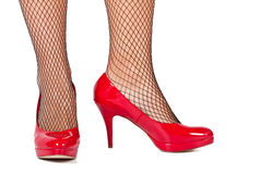 Red high hill shoes from the front Royalty Free Stock Photos