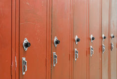 Red High School Lockers. With a spin dial for the combination code royalty free stock images