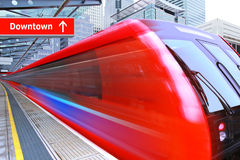 Red high speed train Stock Photos