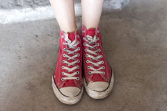 Red High Top Sneakers Royalty Free Stock Photography