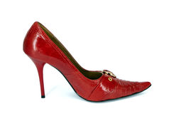Red high woman's shoe Royalty Free Stock Images