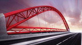 Red highway bridge construction half view Royalty Free Stock Photography