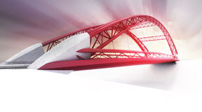 Red highway bridge in perspective view Royalty Free Stock Image