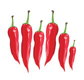 Red сhili pepper - Illustration. Red chili on a white background-Vector Illustration Stock Photos