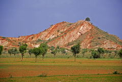 Red hills at bank of ground. With small trees Royalty Free Stock Photography