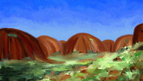 Red Hills - Digital Painting. Digital landscape painting of rolling red hills in a desert climate Stock Photos
