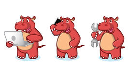 Red Hippo with laptop Stock Photo