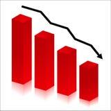Red histogram. On white background, decrease concept Stock Photo