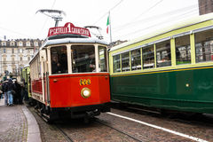 The red historic tram in Turin Royalty Free Stock Images